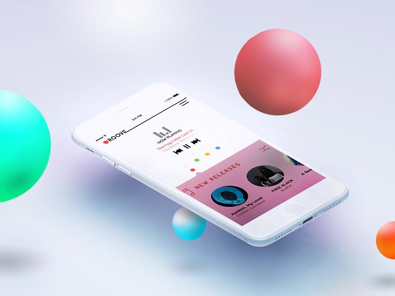 Roove - Music App concept bubbles user interface mobile uiux groove player playlist 3d mobile app ui music