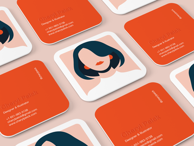 Business Cards square peach teal red orange minimalism business card design branding cards adobe minimal identity print vector illustrator woman flat illustration business cards business card