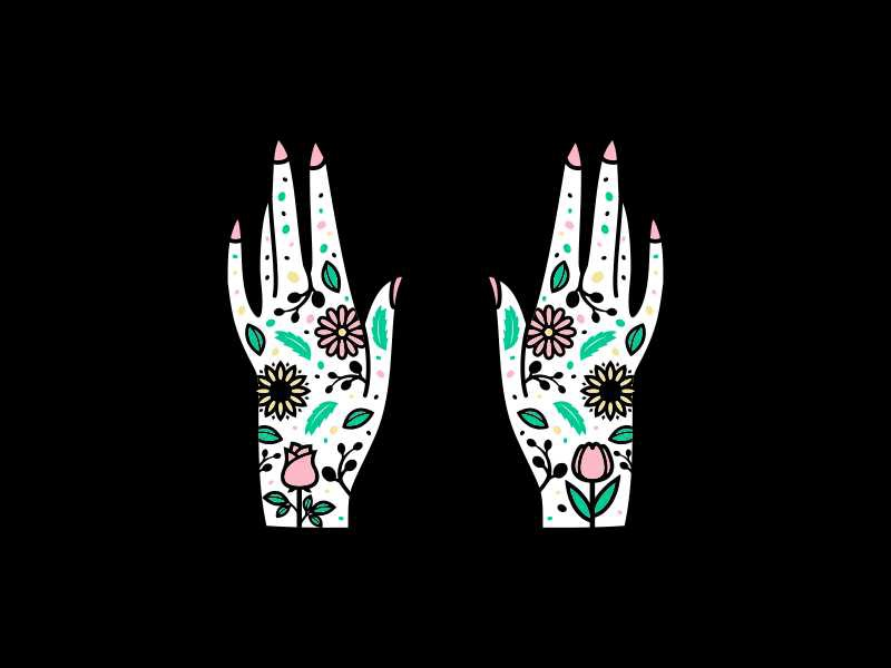 Flower Hands tulip rose daisy folk art scandinavian tattoo hands floral flowers flower