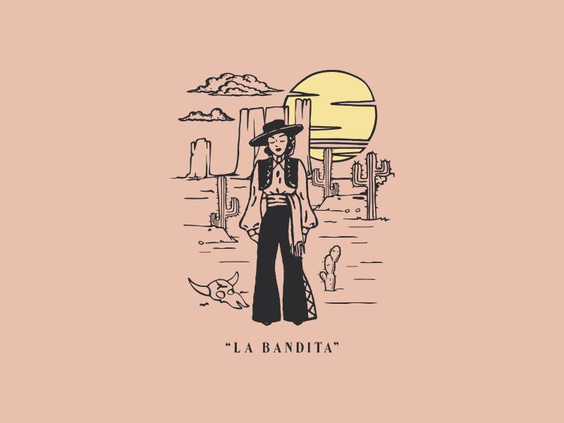 La Bandita cowgirl woman saguaro mesa arizona desert southwest cactus bandita