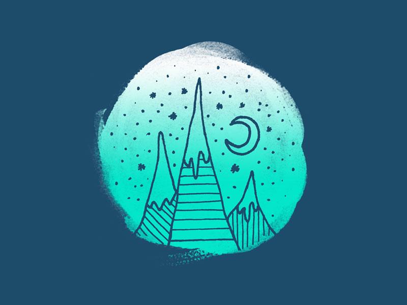 Gnome Mountains nature hand drawn landscape stars moon mountain mountains