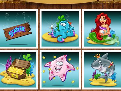 Underwater Adventure Game cartoon characters illustration character design mermaid sea snail star fish shark sea creature oyster treasure fish fruit machine slot game octopus