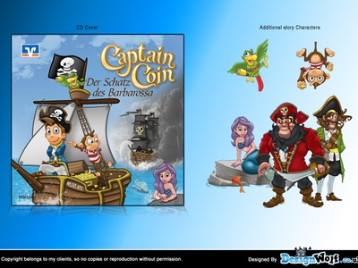 Pirates For Childrens CD pirate captain character design mascot design cartoon character monkey parrot mermaid