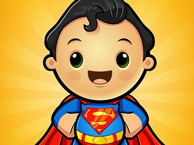 Kawaii   Superman designwolf warner-bros dc-comics character-design vector superman superhero kawaii illustration fun cute cartoon