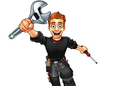 Doorsystems Mascot cartoon mascot photoshop character engineer mechanic design wolf plumber door systems
