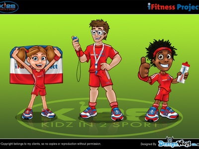 Kidz In2 Sport Mascots mascot cartoon characters sport fittest comic relief design illustration