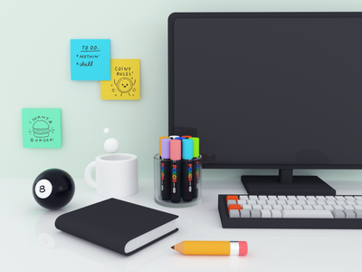 Desk Things postits 8ball pencil posca cinema4d 3d desk
