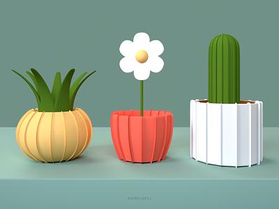 Paper Plants octane cinema4d paper plants