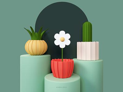 Paper Plants plants octane cinema4d 3d paper