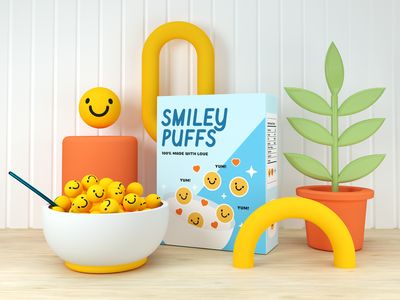 Smiley Puffs octane cinema4d 3d plants smiley cereal