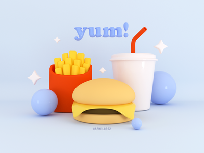 Yum! drink fries burger food 3d