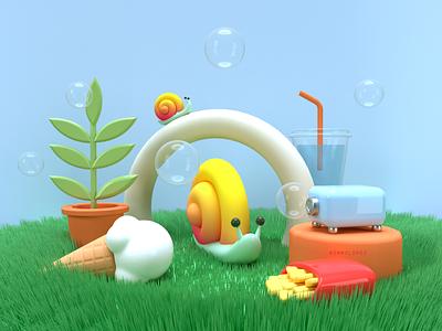 Snail's Paradise bubbles octane c4d snail