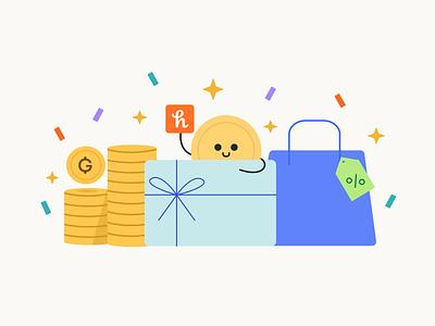 Honey - Illustration Refresh honeygold online coupons discounts savings coiny shopping money honey