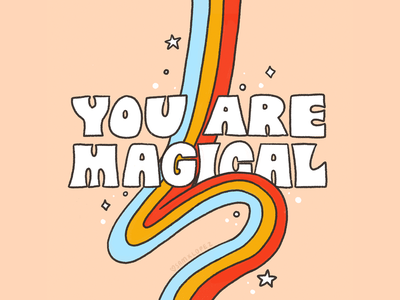 You Are Magical procreate typography rainbow retro magic