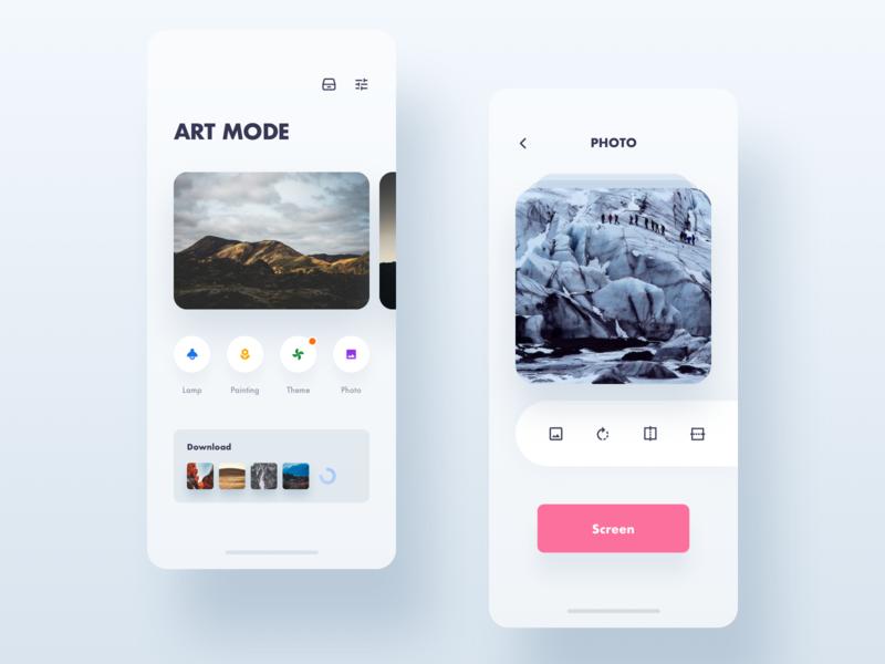 Art mode UI page icon app clean sketch ui design
