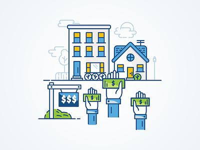 Real Estate Sales Illustration illustration icon house hotel hand blue green sale sign money dollar building