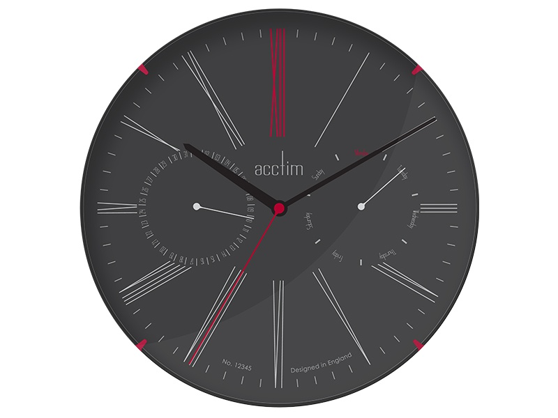 Sketch Collection Day Date Wall Clock Dark Acctim By Keith
