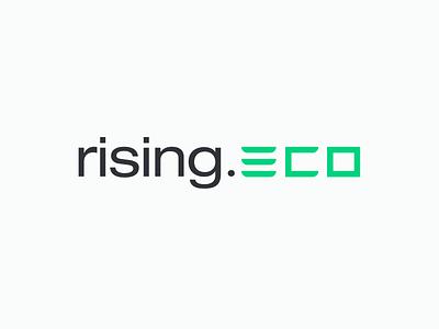 rising.eco logo rising ecology economy logotype mark identity typography icons logo branding design