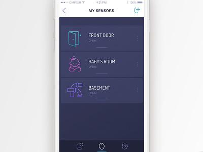 Oval Sensor List app concept ui smart home product design oval mobile app mobile inteface design list concept app