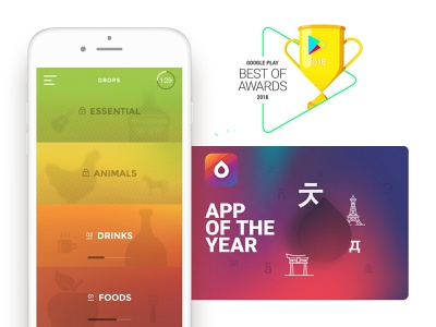 Drops  - Best App in Google Play Store at 2018! best2018 award winning award language learning learning drops design playstore appstore app 5minutes