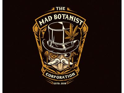 Mad botanist logo design vapor illustration gentleman robot steam punk steampunk cannabis weed artdeco artnouveau art nouveau vintage logo marijuana cannabies