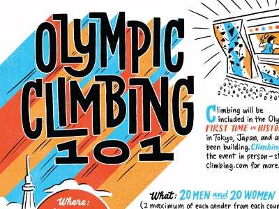 Olympic Climbing 101 for Climbing Magazine climbers athletes olympic climbing 2020 olympics 2021 olympics olympics tokyo climbing gym bouldering climbing editorial illustration lettering illustration