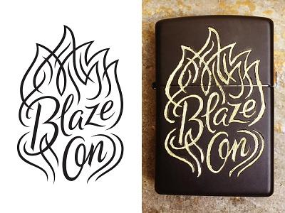 Blaze On vector engraving lighter zippo script lettering