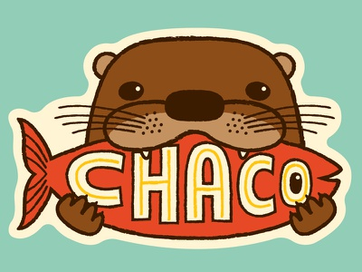 otter with a tasty fish mcjclient tiny ears lettering fish cute sticker chaco otter