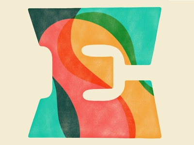 E colorful mask pattern curves lettering