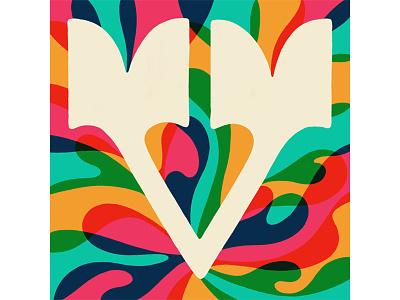 V v split serif western type colorful psychedelic curves hand lettering