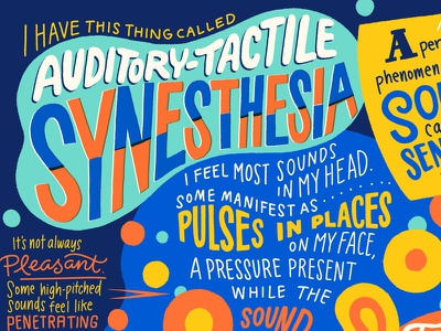 Auditory-Tactile Synesthesia hand lettering infographic illustration senses touch feeling sound music synesthesia