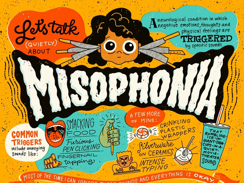 Misophonia neurology awareness bad sounds noise pen clicking finger tapping chewing table flip anxiety illustration lettering misophonia
