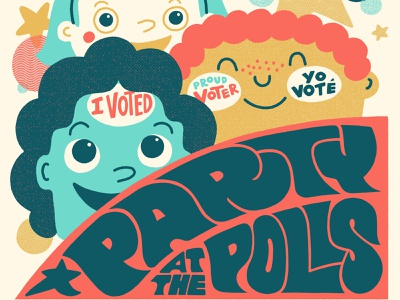 Party at the polls civic duty illustration lettering psychedelic party i voted voter election day vote
