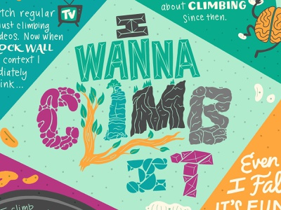 I Wanna Climb It obsession bouldering storytelling information infographic lettering illustration climbing
