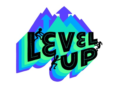 Level Up lettering progress determination positivity sticker climbing level up