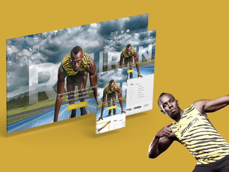 Usain Bolt Landing Page Mockup personal branding website ui design web landing page branding landing web design reeve yew jackson yew funnel duo media funnel duo hero masterclass hero mockup olympic jamaican jamaica usain bolt