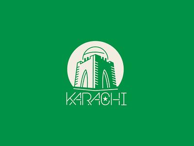 Karachi Sticker mausoleum tomb weekly challenge weekly minimalist modern sleek 2color flat hometown sticker pakistan karachi logo icon design art