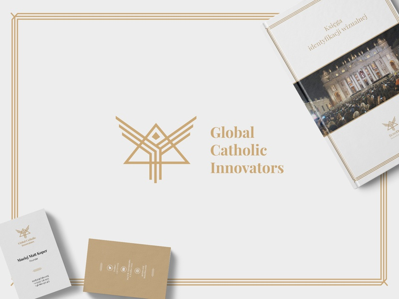 Global Catholic Innovators - Identity white gold catholic innovators design typography identity branding logo