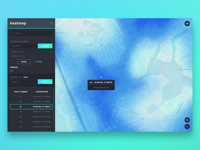 GIS Tools : heatmap geo gis tool website interface menu points dashboard map heatmap list ui