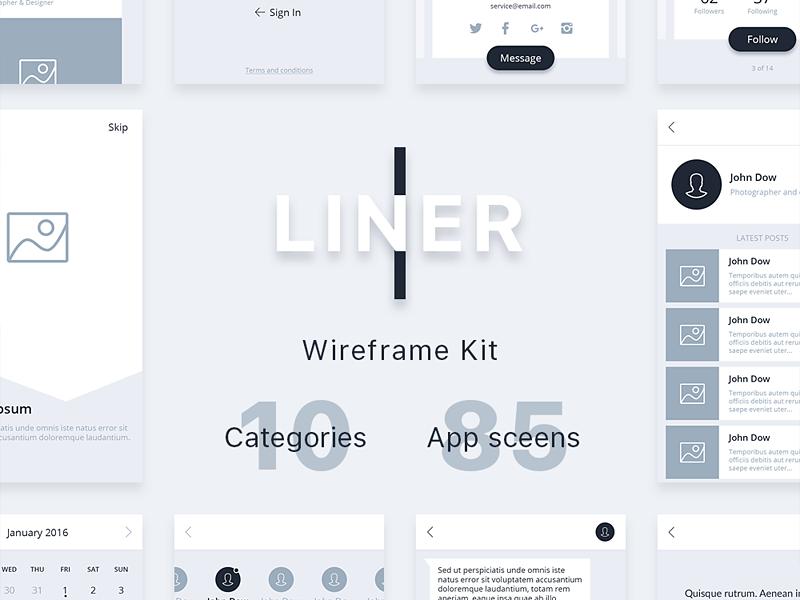 Liner Wireframe Kit simple clean walkthrough ios mobile blog e-commerce prototype kit wireframe ux ui