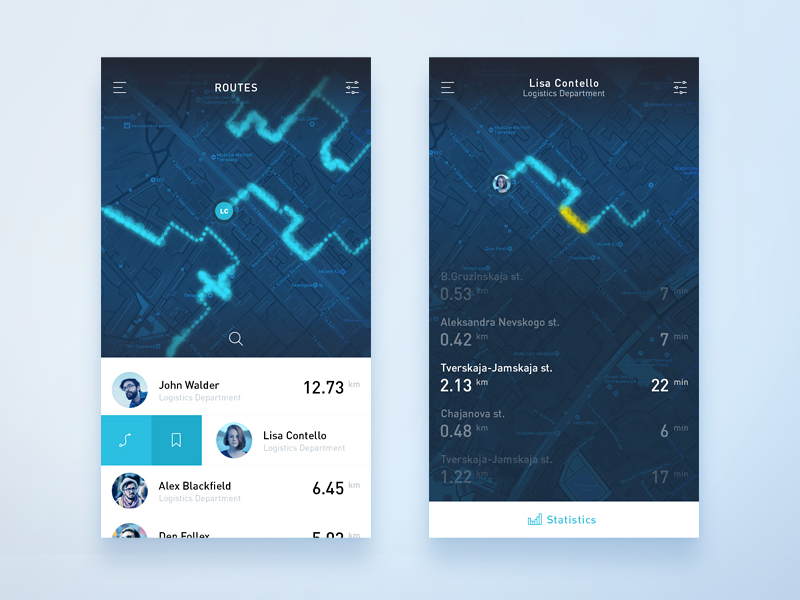 Map App concept : #1 trace concept ios mobile statistics geo gis route map interface ux ui