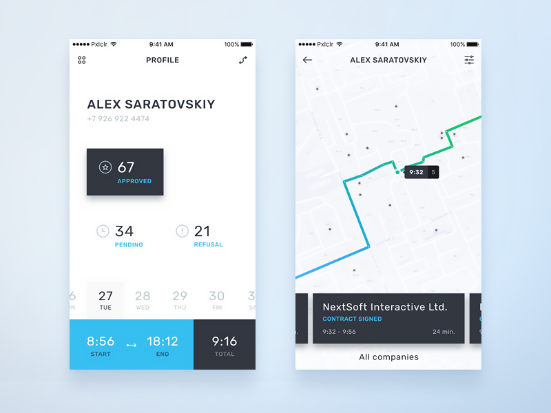 Map App concept : #2 trace concept ios mobile statistics geo gis route map interface ux ui