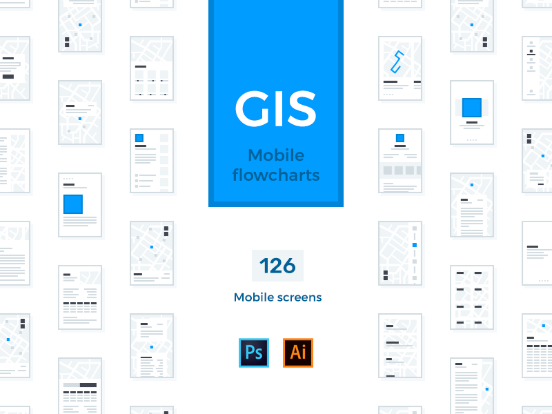 GIS Mobile Flowcharts ai psd map geo gis flowchart wireframe prototype mobile interface ux ui