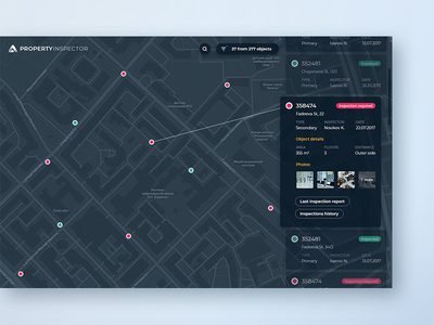 Map App concept : #3 inspection card concept objects property geo gis list map interface ux ui