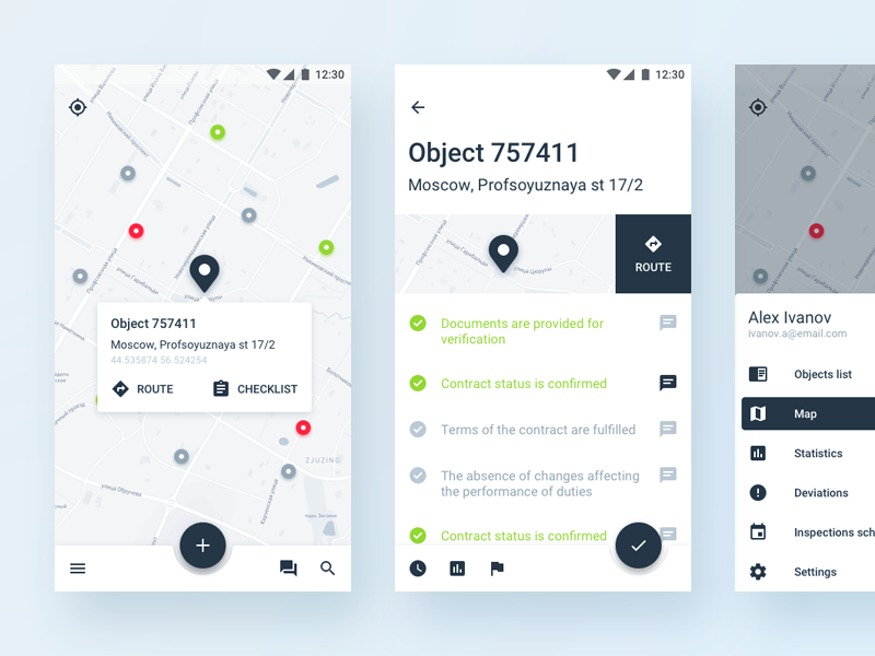 Field Inspector app uiux mobile android material design field control inspections audit property menu checklist map geo