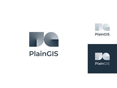 PlainGIS : logo minimalism angled gradient gradient logo geometric identity clean logo simple logo gis geo branding brand and identity logotypedesign logo