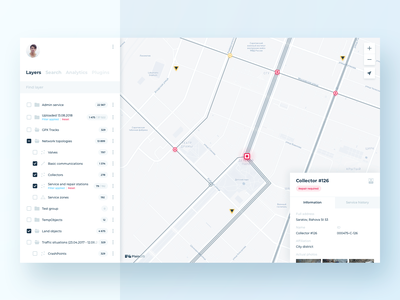 PlainGIS : layers and object card minimal simple plain plaingis clean typography layers menu ux interface map geo gis ui