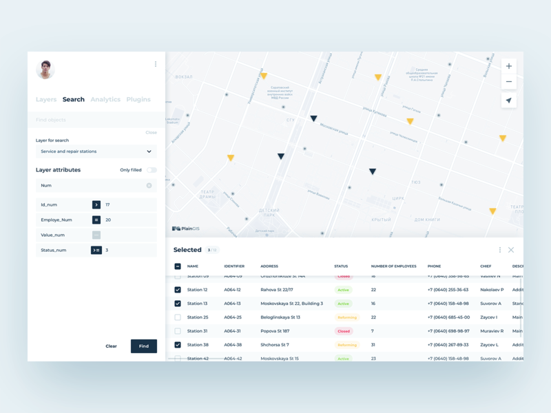 PlainGIS : Search by attributes table view list view list tables filters attributes ui elements map interface table design search results gis geo ux design uidesign ux ui