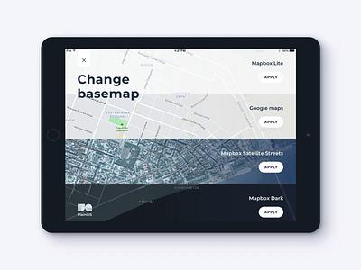 PlainGIS mobile : Basemaps change process 2 menu uidesign interface concept tablet app ipad mobile transitions motion animation basemaps gis geo map ux ui