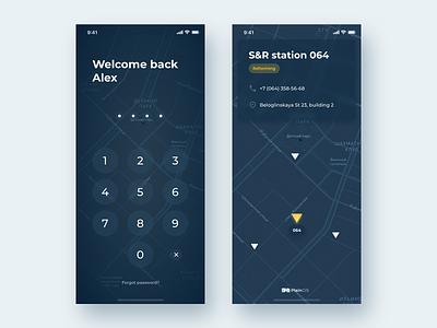 PlainGIS mobile : Lock screen lock screen mapapplication mobileappdesign appdesign unlock password lockscreen ios mobile interface ux geo map gis ui